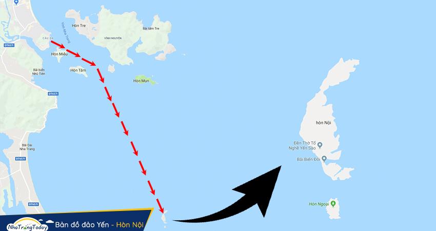 Bản đồ đi đảo Yến Hòn Nội Nha Trang